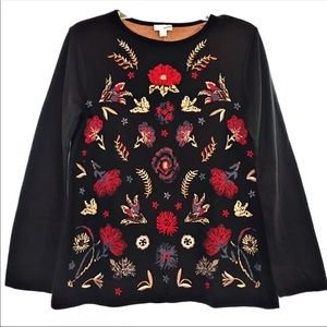 NEW J.Jill Floral Embroidered Sweater